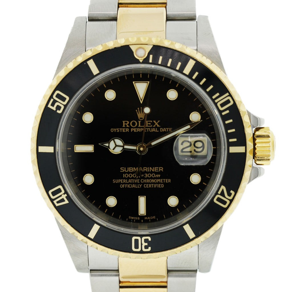 ROLEX SUBMARINER 16613 BLACK DIAL TWO TONE WATCH