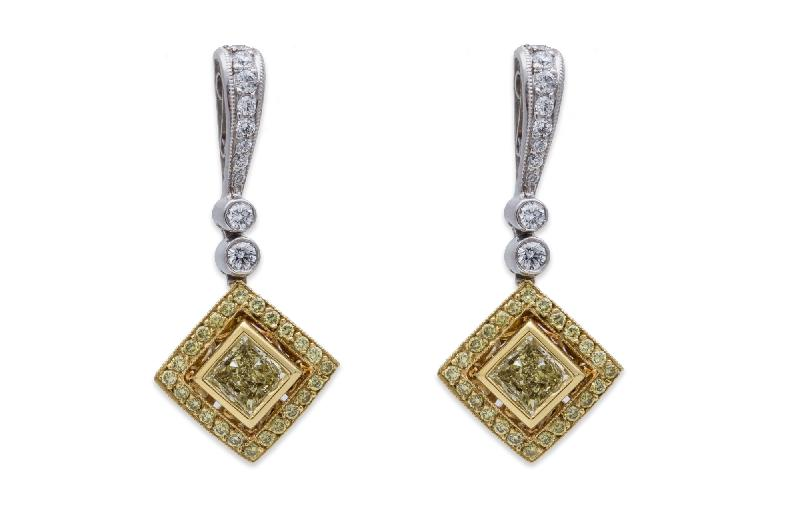 Beaudry Couture Collection Fancy Yellow Diamond Earrings 18K Yellow Gold & Platinum