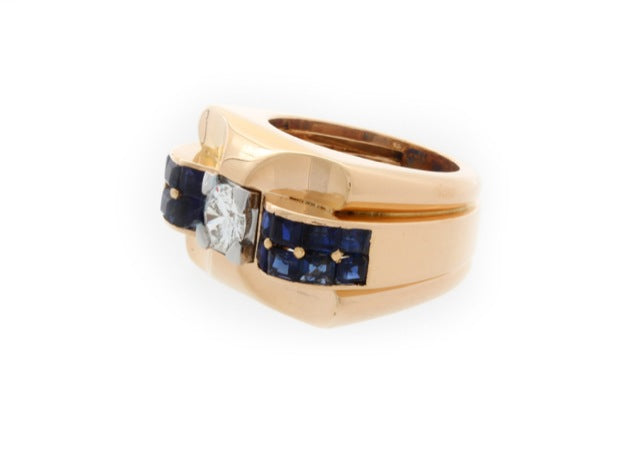 Boucheron Diamond and Sapphire Ring 18K Yellow Gold