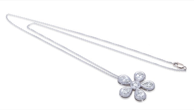 Necklace with Diamond Flower Pendant 18K White Gold