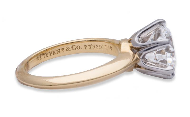 Tiffany & Co Diamond Solitair Ring 18K Yellow Gold & Platinum