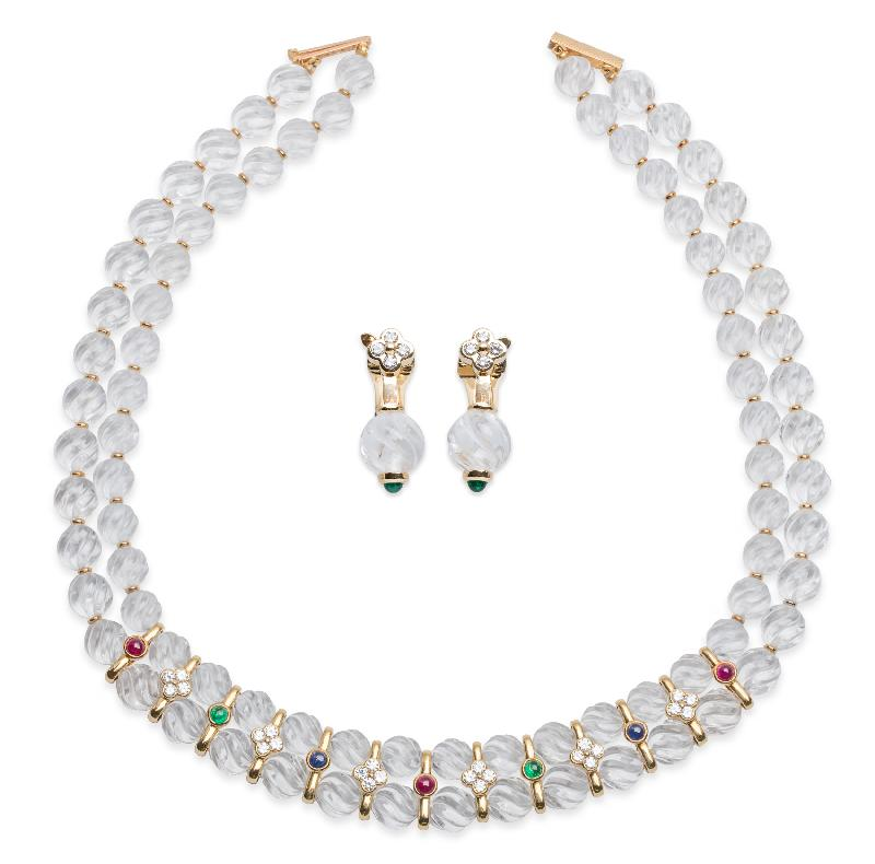 Boucheron Quartz Ruby Emerald Sapphire Diamond Necklace and Earring Set.