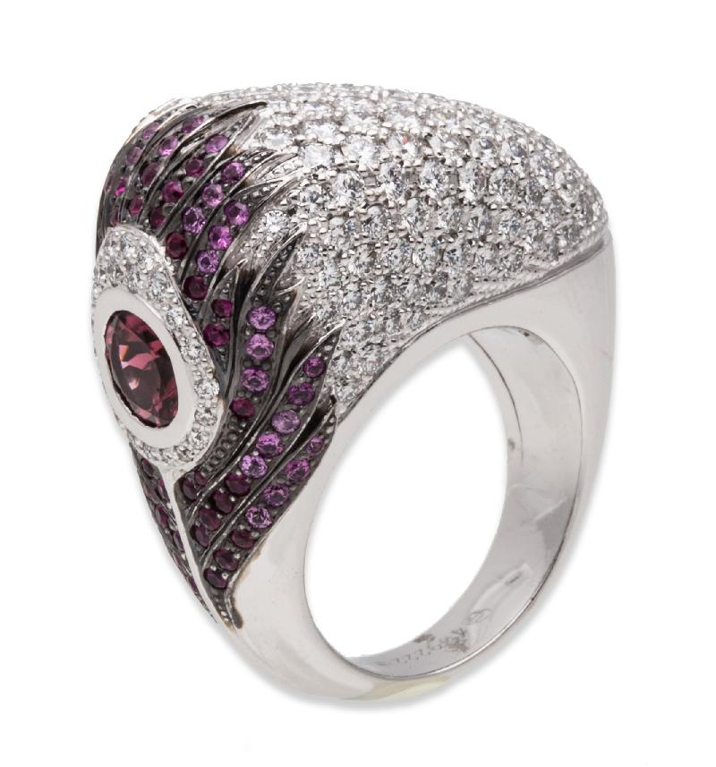 Carrera Y Carrera Peacock Ring 18K White Gold