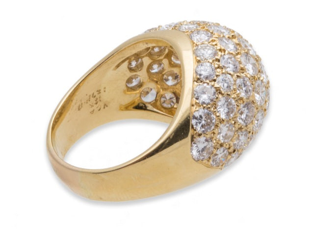 Van Cleef and Arpels VCA Diamond Ring 18K Yellow Gold