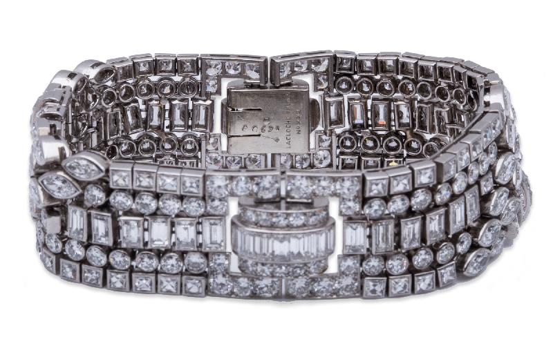 La Cloche Frères Antique Diamond Bracelet Platinum
