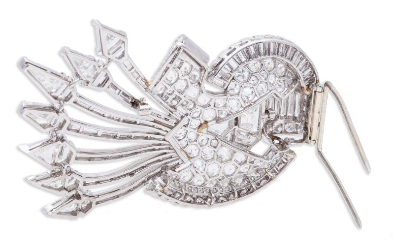 J E Caldwell Diamond Brooch Platinum
