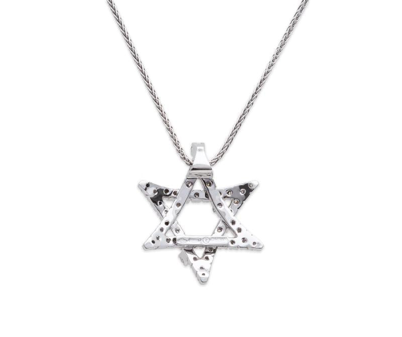 Damiani Diamond Pendant Star of David, 18K White Gold.