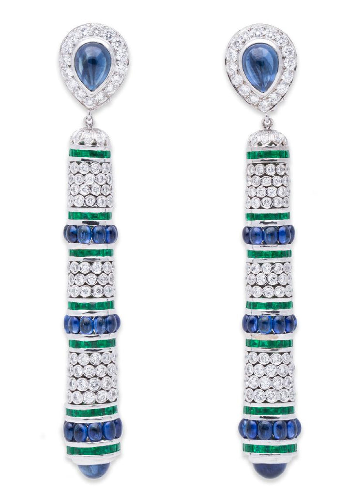 de Grisogono Diamond Sapphire and Emerald Earrings 18K White Gold