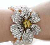 Hammerman Brothers Diamonds and Pearl Flower Bracelet 18K White Gold