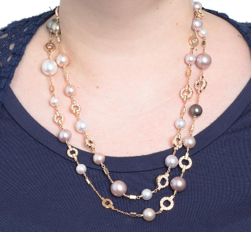 Cartier Himalia Multicolor Pearl and Diamond, 18K Rose Gold Long Necklace
