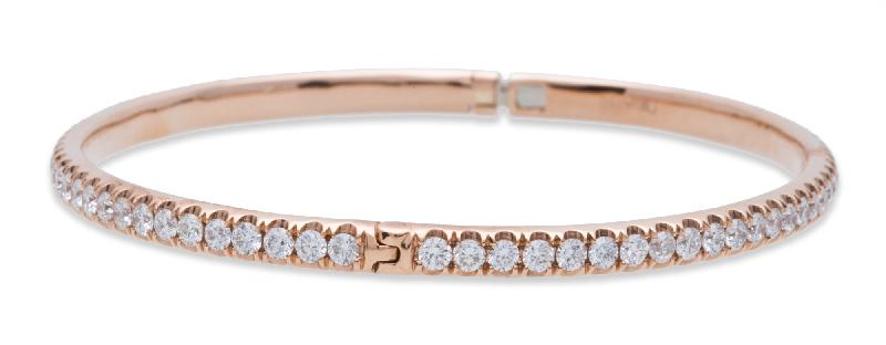 Diamond Bangle Bracelet 18K Rose Gold
