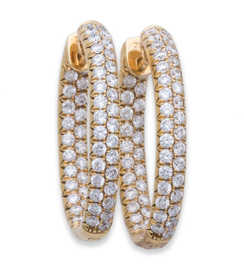Odelia Diamond Hoop Earring 3.00 ct 18K Yellow Gold