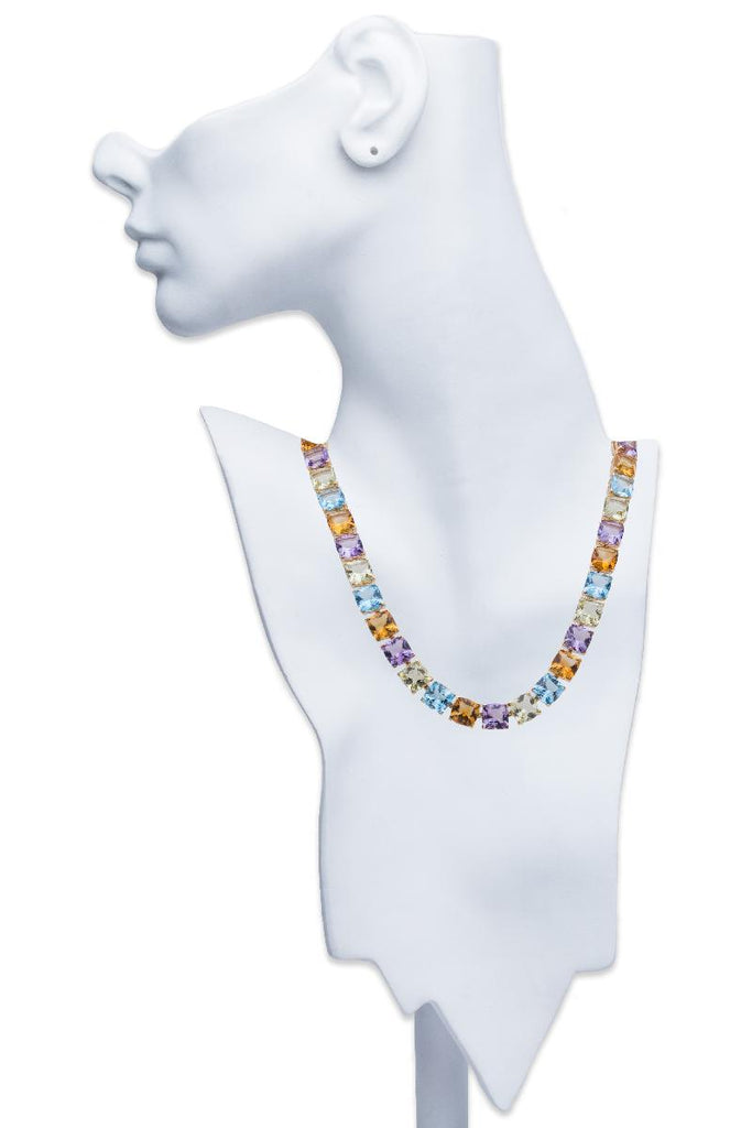 Asprey of London Multi-Colored Semi-Precious Stone Necklace 18K Yellow Gold