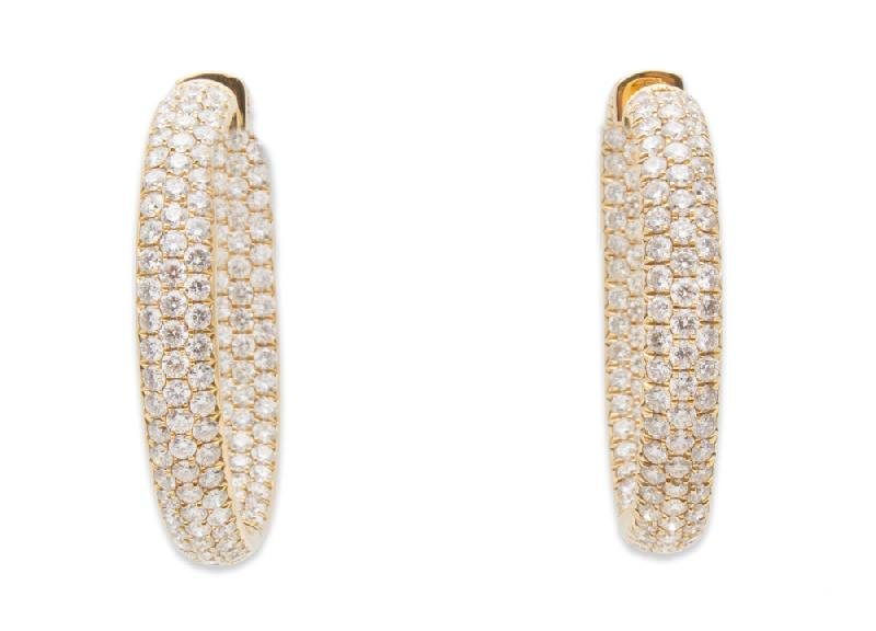 Odelia Diamond Hoop Earrings 9.03ct 18K Yellow Gold