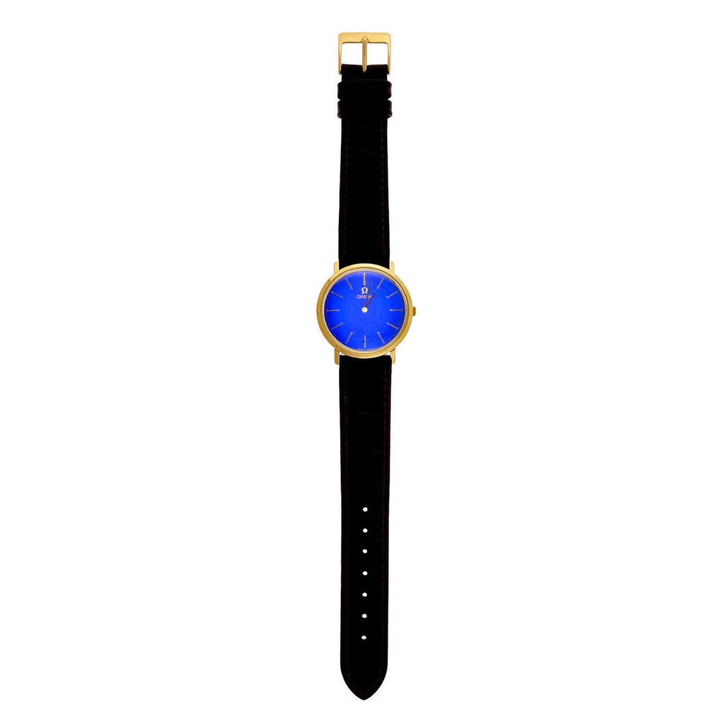 1960 Omega 18k Manual Wind Watch With Custom Colored Shiny Blue Dial