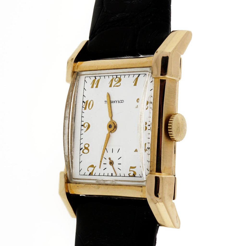 Art Deco 1940\'s Longines Manual Wind 14k Yellow Gold Watch White Tiffany Dial