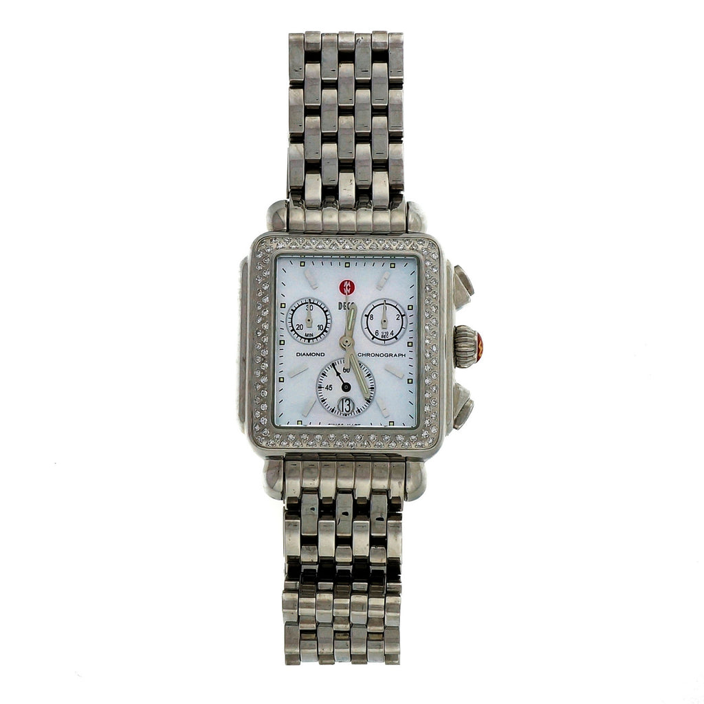 Large Michelle Deco Diamond Chronograph Steel Mother Of Pearl Date Wrist Watch