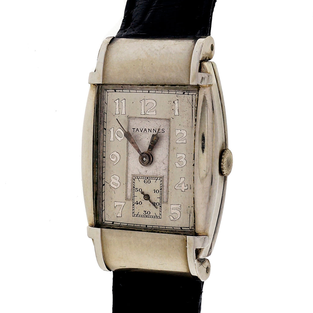 Tavannes 1950 Art Deco Hooded Lug Steel Strap Wrist Watch