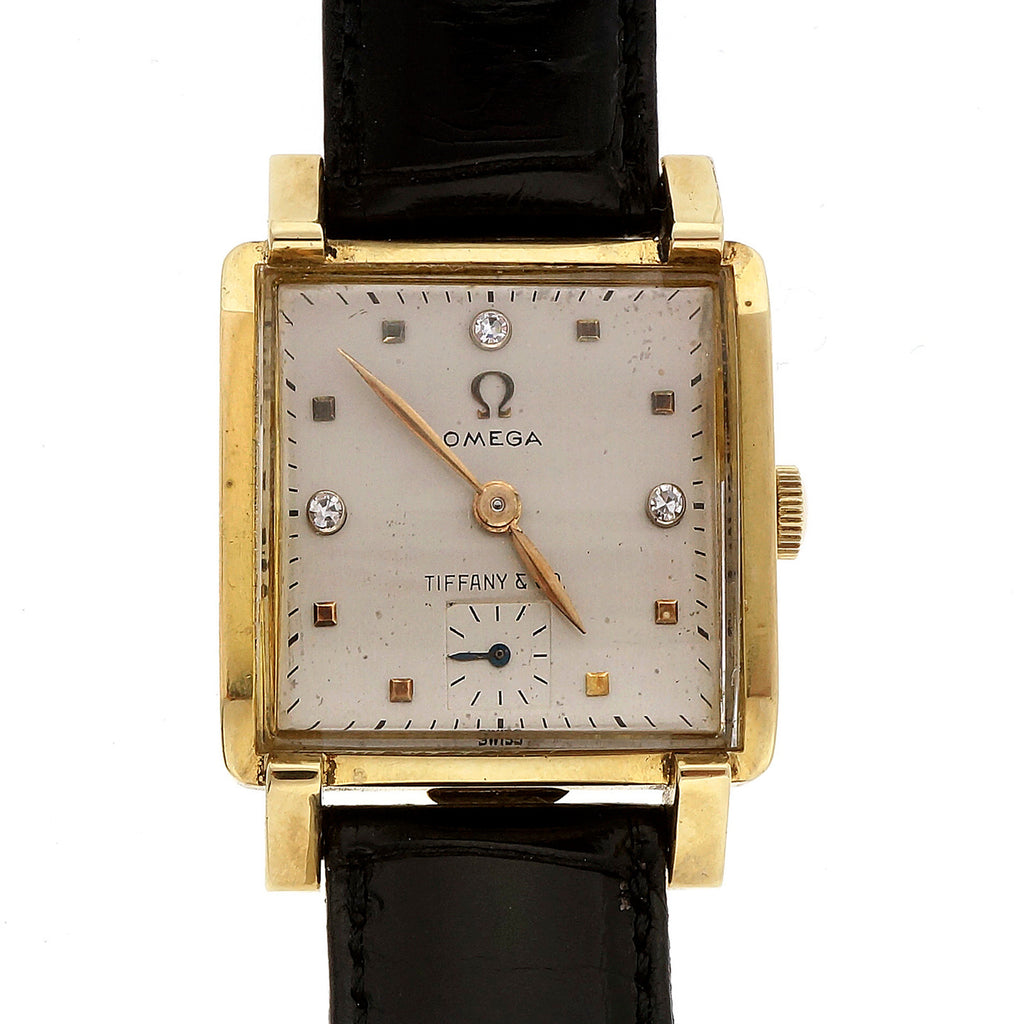 Tiffany 1950 Mid Century Omega 18k Watch Men\'s Ladies