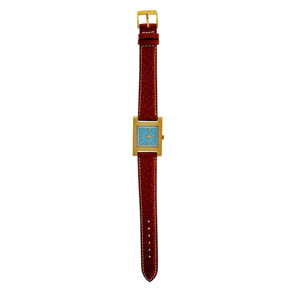 1950's Jules Jurgensen 18k Gold Tank Strap Watch Custom Colored Turquoise Dial
