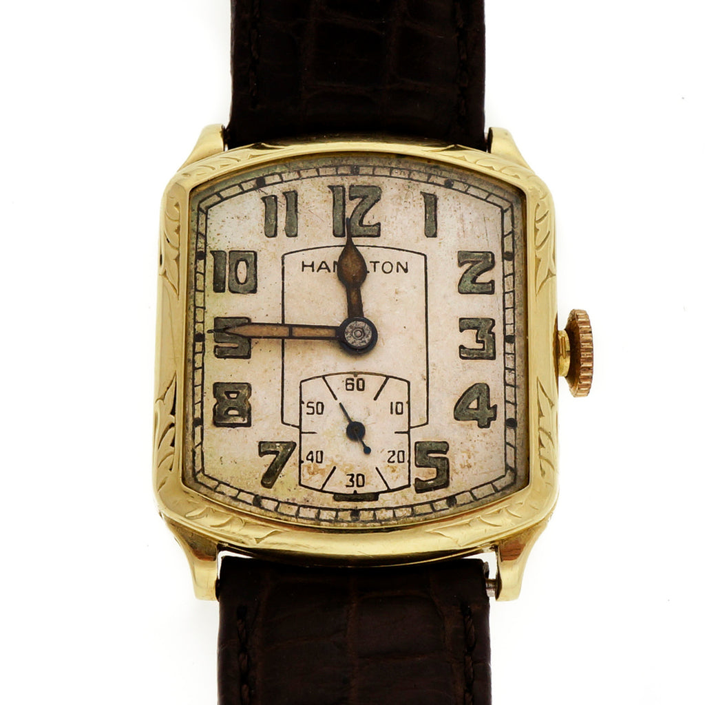 Art Deco 1939 Hamilton Green Gold Strap Watch Original Dial And Hands