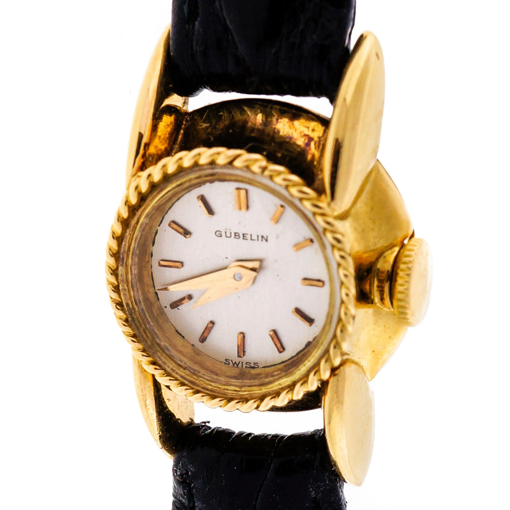 Ladies 1950 18k Gold Gubelin Mid Century Alligator Strap Wrist Watch