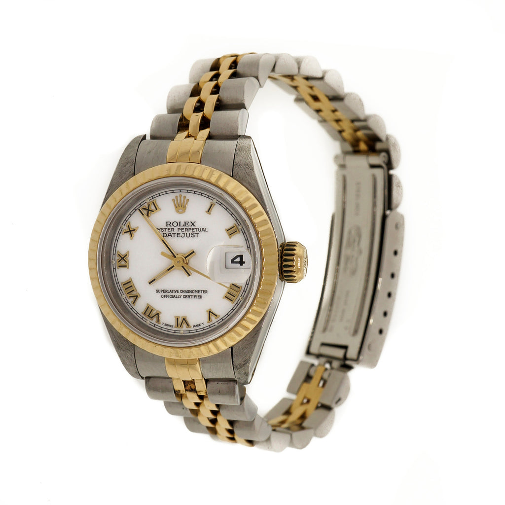 Ladies Rolex 18k Yellow Gold & Steel Datejust 69173 White Dial Roman Numerals