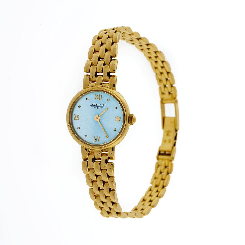 Longines Solid Yellow Gold Watch Mesh Band Professionally Redone Ice Blue Dial
