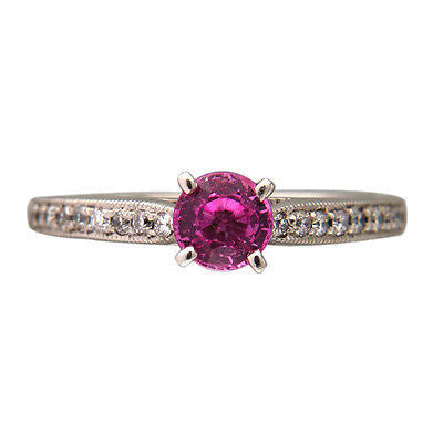 .62ct Round Gem Pink Sapphire .20ct Full Cut Diamond Platinum Ring GIA Certified