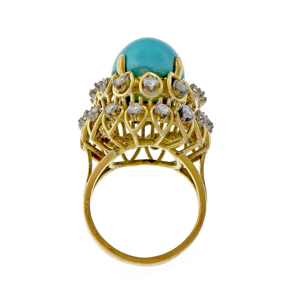 1960 Jack Gutschneider Persian Turquoise Diamond 18k Yellow Gold High Dome Ring