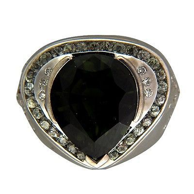 6.12ct Pear Green Tourmaline 1.00ct Green Sapphire Accent .20ct Diamond 14k Ring