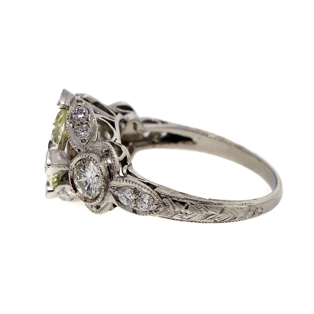 Antique Art Deco 2.59ct Transitional Cut Platinum Diamond Ring 1930