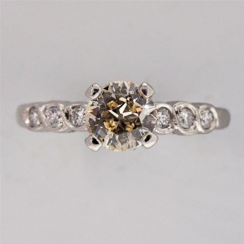 Antique Engagement Ring .59ct Old European Natural Light Brown Diamond