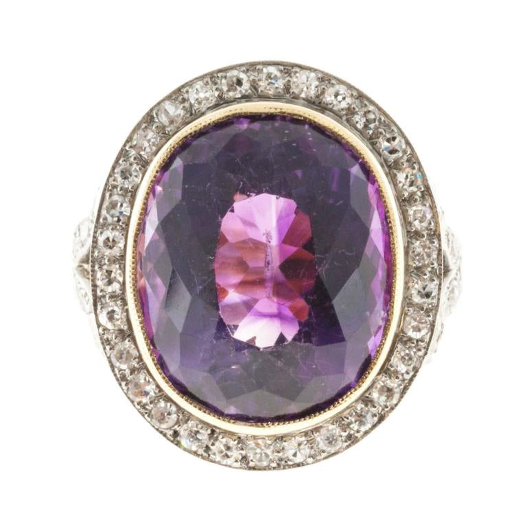 Antique Victorian 1900 10.00ct Amethyst 14k Pink Gold Platinum Diamond Ring