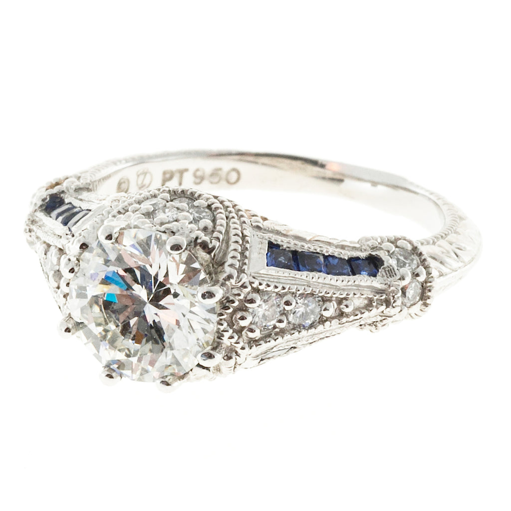 Art Deco Style Excellent Cut 1.51ct Diamond Sapphire Engagement Ring Platinum