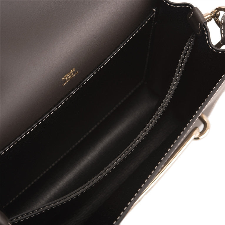Hermes Bi-color Fusain and Black Veau Sombero Roulis Permabrass Hardware