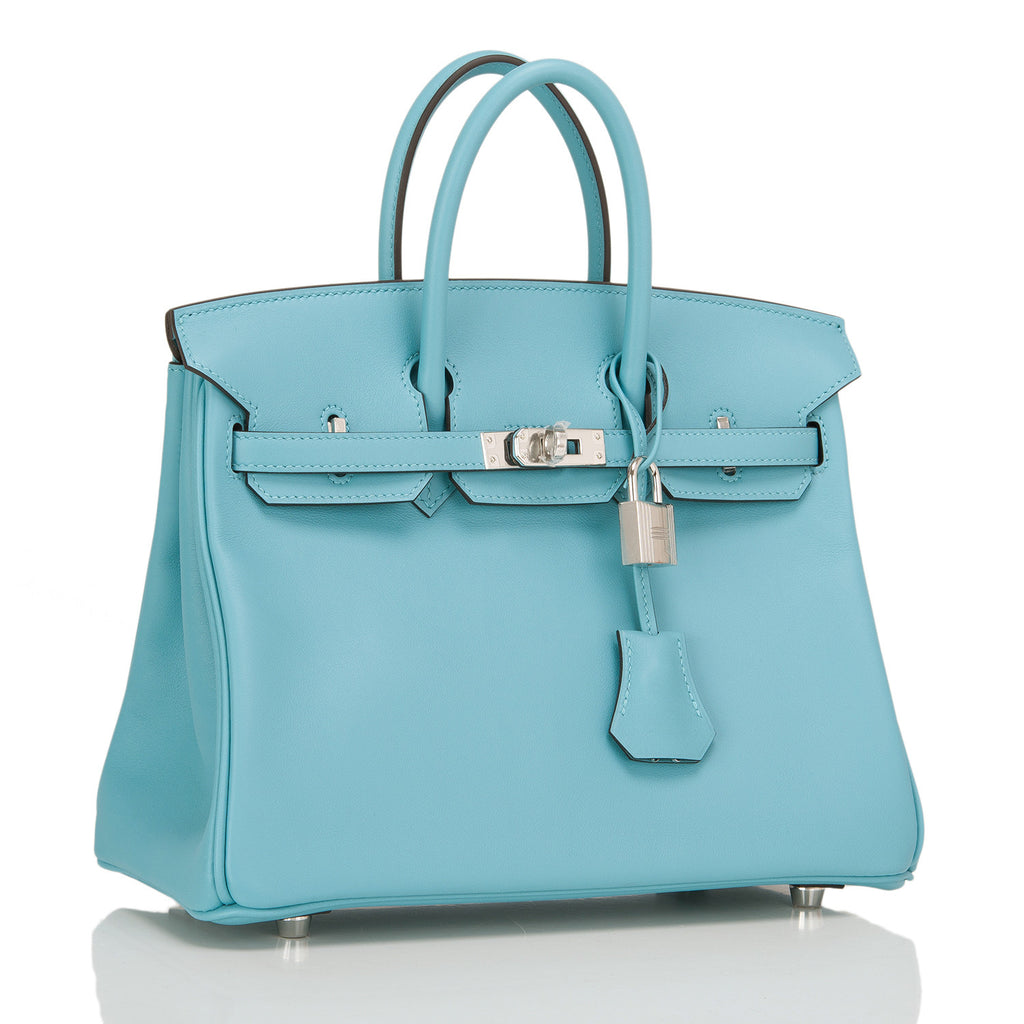 Hermes Blue Saint Cyr Swift Birkin 25cm Palladium Hardware
