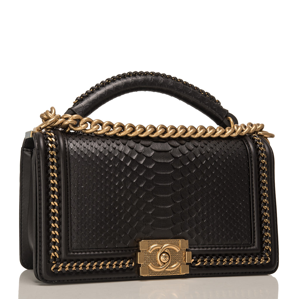Chanel Black Python Medium Boy Bag with Handle