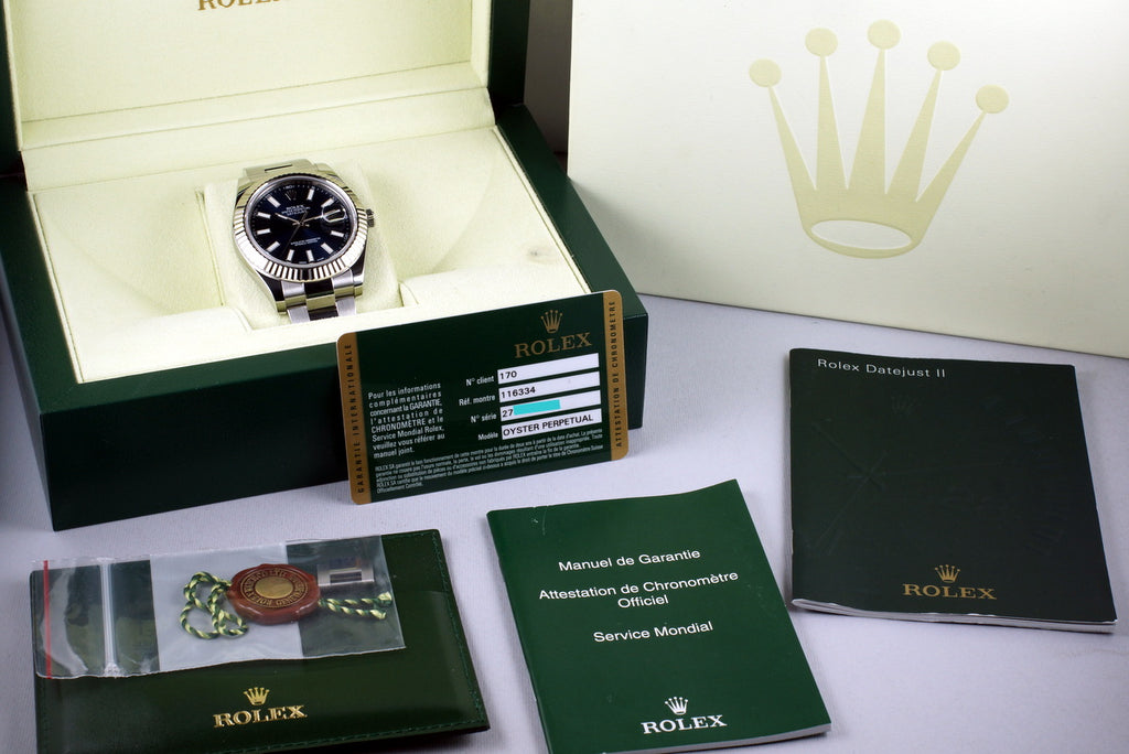 2014 ROLEX DATEJUST II 116334 BLUE DIAL WITH BOX AND PAPERS