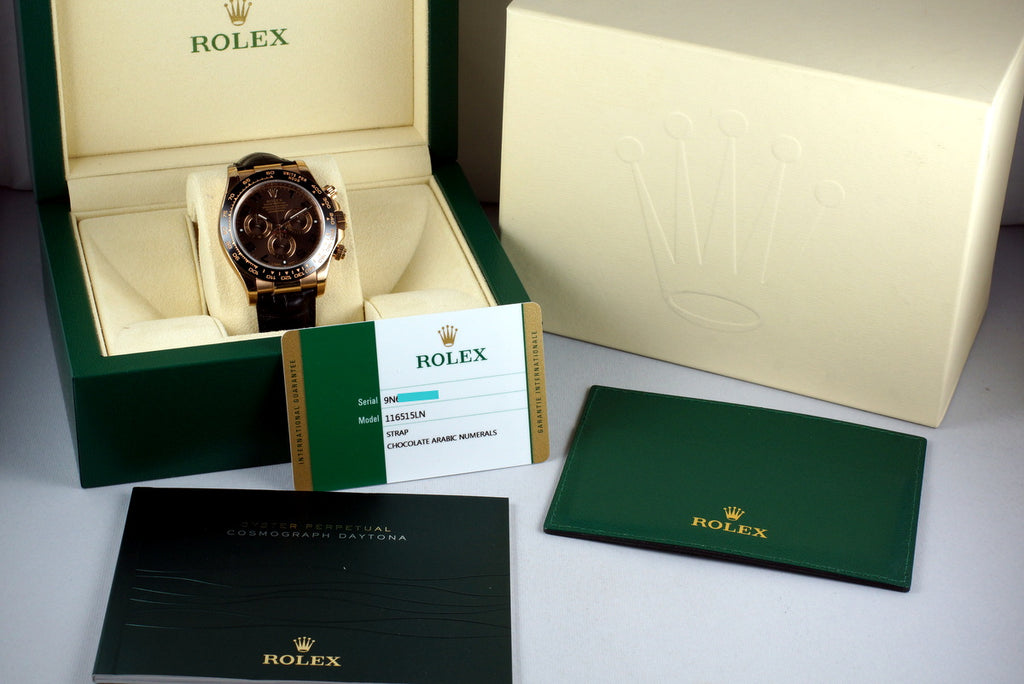 2015 ROLEX RG DAYTONA 116515 CHOCOLATE ARABIC DIAL WITH BOX AND PAPERS MINT