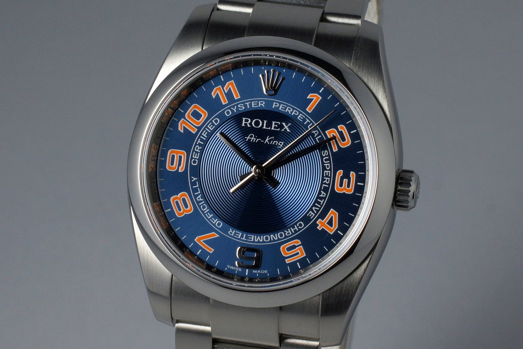 2007 ROLEX AIR KING 114200 BLUE ARABIC DIAL