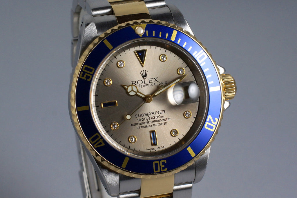 2002 ROLEX TWO TONE SUBMARINER 16613 SILVER SERTI DIAL