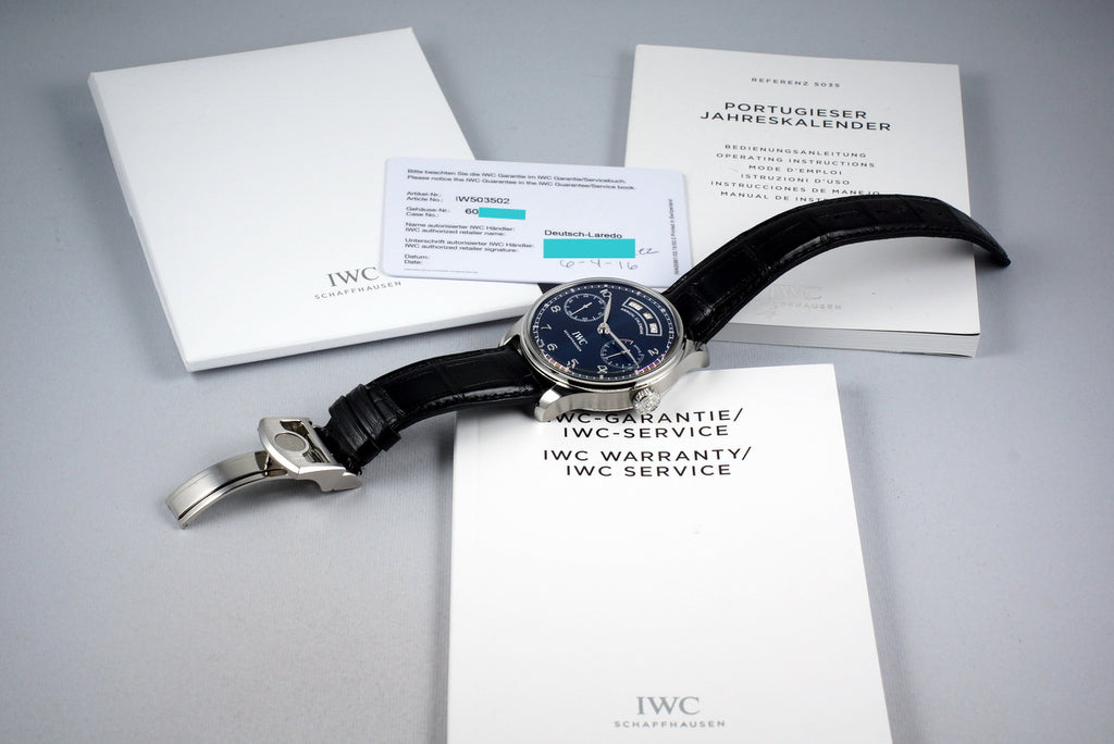 2016 IWC ANNUAL CALENDAR IW503502 WITH BOX AND PAPERS
