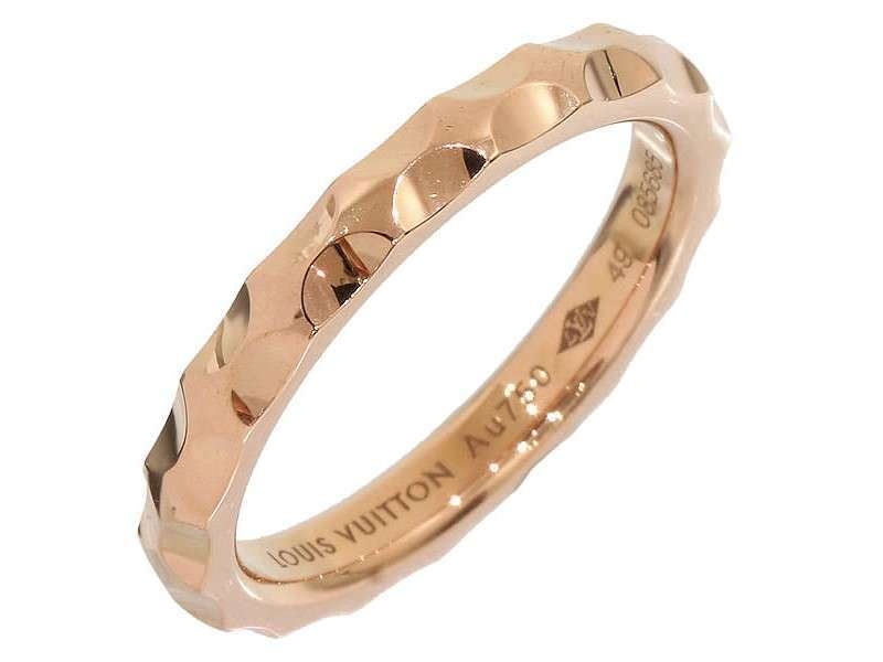 Louis Vuitton 18K Rose Gold Alliance Monogram Ring