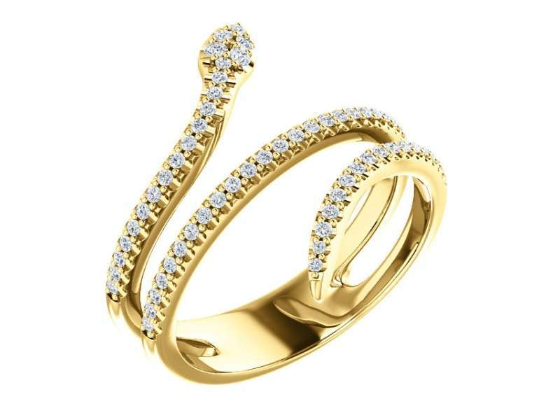 14K Yellow Gold and .33ct TDW Diamond Snake Ring Size 7