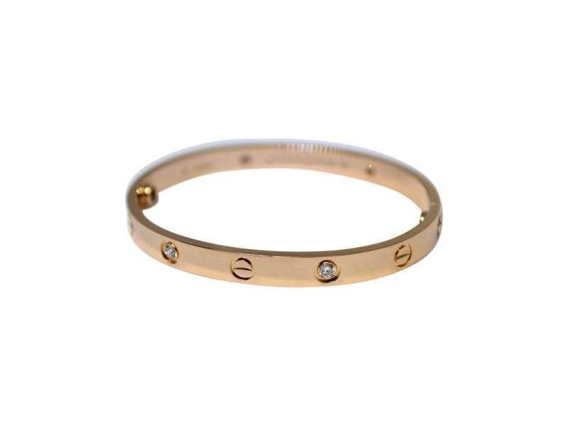 Cartier Love 18K Rose Gold Diamond Bracelet Size 17