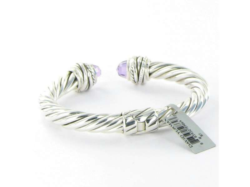 David Yurman 925 Sterling Silver Amethyst & 0.15ct Diamond Bracelet