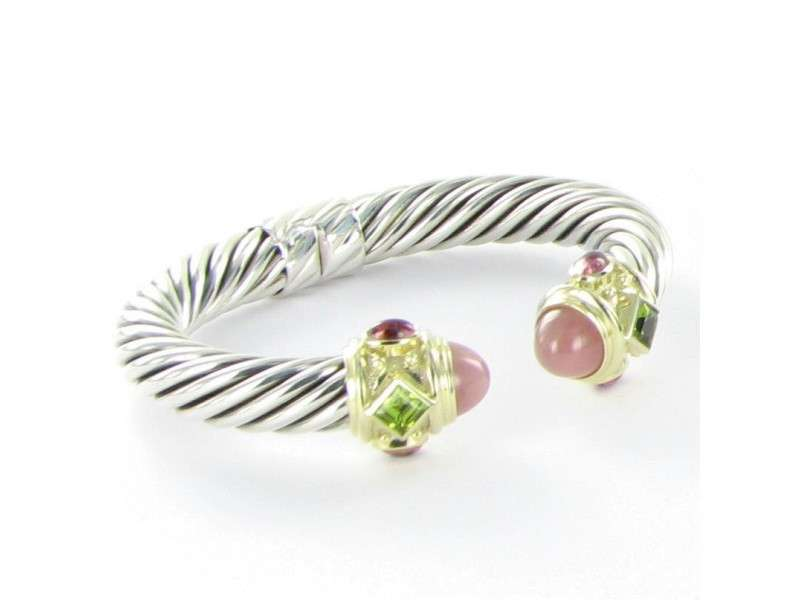 David Yurman 925 Sterling Silver 14K Yellow Gold Guava Quartz Peridot & Tourmaline Bracelet