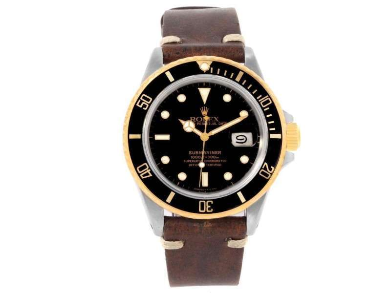 Rolex Submariner 16803 Stainless Steel & 18K Yellow Gold Black Dial 40mm Mens Watch