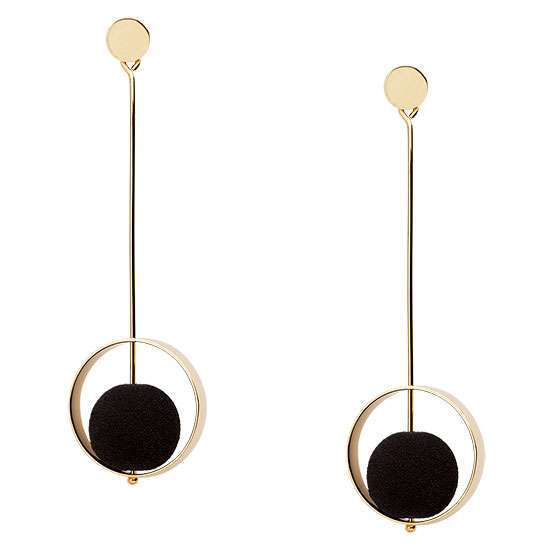 BLACK LAVA AND 9KT GOLD DROP STATEMENT EARRINGS